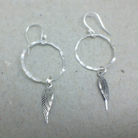 Sterling Silver Hoop Angel Wing Long Dangle Earrings