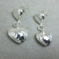 Sterling Silver Heart Stud Earrings, Beaten Silver Heart Earrings