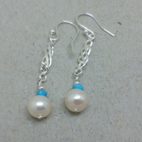 Long Pearl Turquoise Celtic Design Earrings
