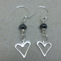 Black Hematite Sterling Silver Heart Charm Earrings