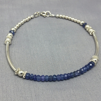 Sterling Silver Tanzanite Beaded Ball Bangle Bracelet, December Birthstone