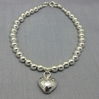 Sterling Silver Heart Charm Beaded Ball Bracelet, Silver Heart Charm Bracelet