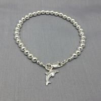Dolphin Charm Sterling Silver  Beaded Ball Bracelet
