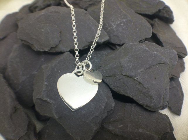 Two Hearts Sterling Silver Pendant Necklace, Can be Personalised