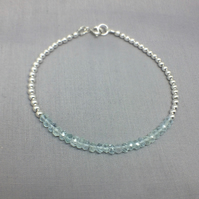 Blue Aquamarine Sterling Silver Beaded Ball Bracelet, Gemstone Bar Bracelet