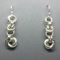 Sterling Silver Mobius Love Knot Earrings, Chainmaille Dangle Earrings