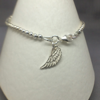 Sterling Silver Angel Wing Charm Bracelet