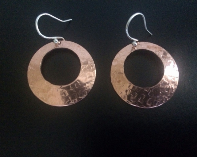 Copper Domed Disc Earrings, Sterling Silver Earrings, Mixed Metal Earrings
