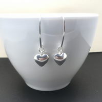 Sterling Silver Heart Charm Earrings