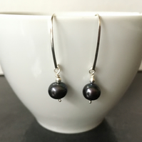 Black Pearl Earrings, Sterling Silver Dangle Pearl Earrings