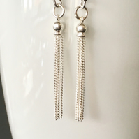 Sterling Silver Long Tassel Chain Earrings