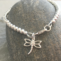 Sterling Silver Dragonfly Bracelet, 925 Beaded Ball Charm Bracelet