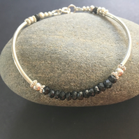Black Spinel Sterling Silver Beaded Ball Bangle Bracelet, Gemstone Bar Bracelet