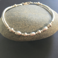 925 Sterling Silver Bangle Bracelet, Silver Bead Bracelet