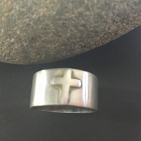 Sterling Silver Wide Band Cross Ring Unisex Ring