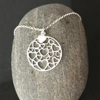 Sterling Silver Circle Heart Long Necklace