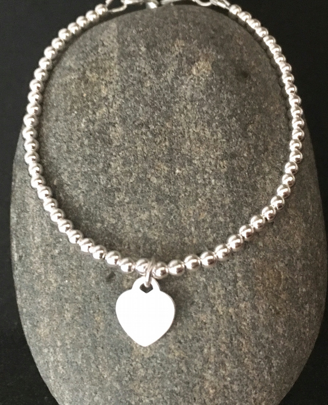 Sterling Silver Adjustable Bracelet, 925 Heart Charm Slider Clasp Bracelet