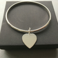 Sterling Silver Heart Charm Bangle, 925 Silver Bark Textured Bangle