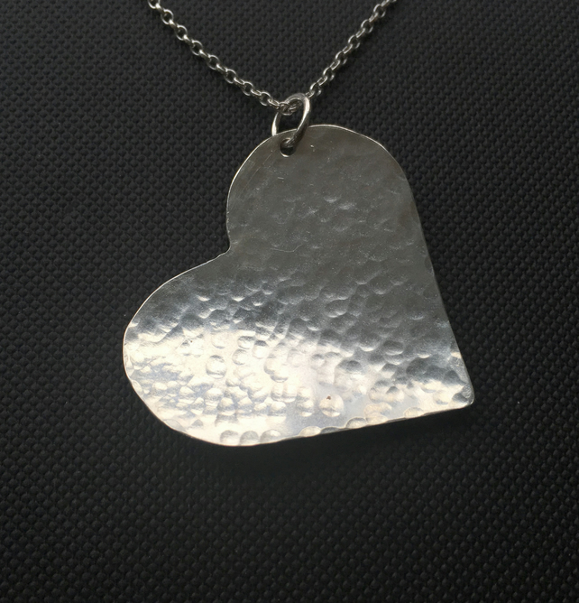 Sterling Silver Large Heart Necklace, Textured Heart Pendant