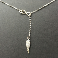 Lariat Y Infinity Angel Wing Sterling Silver Necklace, 925 Silver Lariat Chain