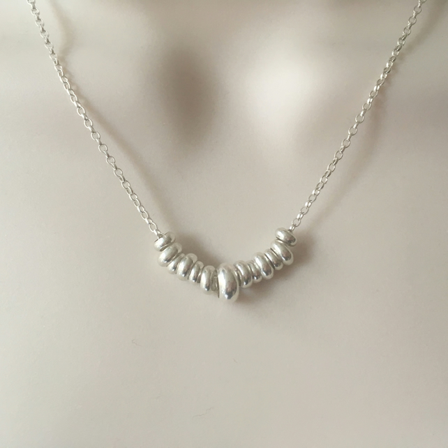 Sterling Silver Rings Necklace, 925 Silver Choker Necklace