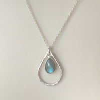 Sterling Silver Labradorite Teardrop Pendant Necklace