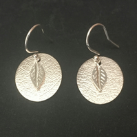 Sterling Silver Leaf Disc Charm Earrings, 925 Silver Dangle Earrings