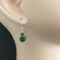 Green Jade Sterling Silver Earrings, Jade Dangle Earrings