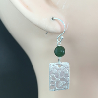 Sterling Silver Jade Geometric Earrings,Long Green Jade Earrings