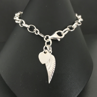 Sterling Silver Heart Angel Wing Charm Bracelet, Personalised Bracelet