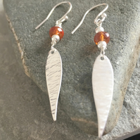 Sterling Silver Hessonite Garnet Leaf Earrings, Orange Bark Textured Earrings