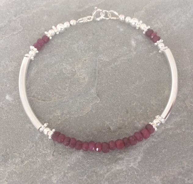 Ruby Sterling Silver Bangle Bracelet, Ruby Noodle Bracelet