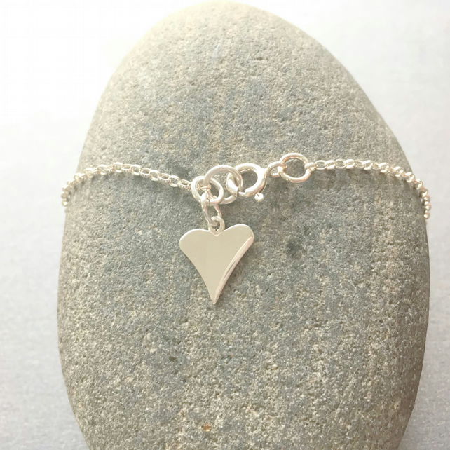 Sterling Silve Heart Charm Ankle Anklet, Silver Ankle Jewellery