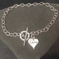 Sterling Silver Love Heart Charm Chain Bracelet With Toggle Clasp