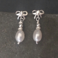 Sterling Silver White Pearl Bow Dangle Stud Earrings