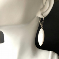 Long White Mother of Pearl Leverback Sterling Silver Earrings