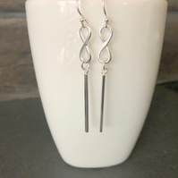 Long Bar Infinity Sterling Silver Dangle Threader Earrings