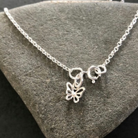 Sterling Silver Butterfly Anklet, Charm Ankle Chain