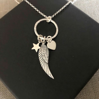 Sterling Silver Circle Necklace with Angel Wing Pendant, Heart and Star Charm