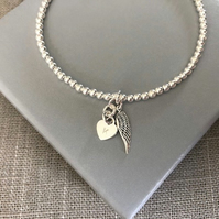 Sterling Silver Heart and Angel Wing Charm Bracelet Personalised Bracelet