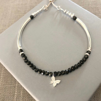 Sterling Silver Black Spinel Butterfly Charm Bracelet with Slider Clasp