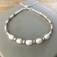 Sterling Silver White Pearl Adjustable Slider Clasp Friendship Bracelet
