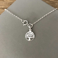 Sterling Silver Tree of Life Charm Anklet, 925 Silver Chain Ankle Bracelet