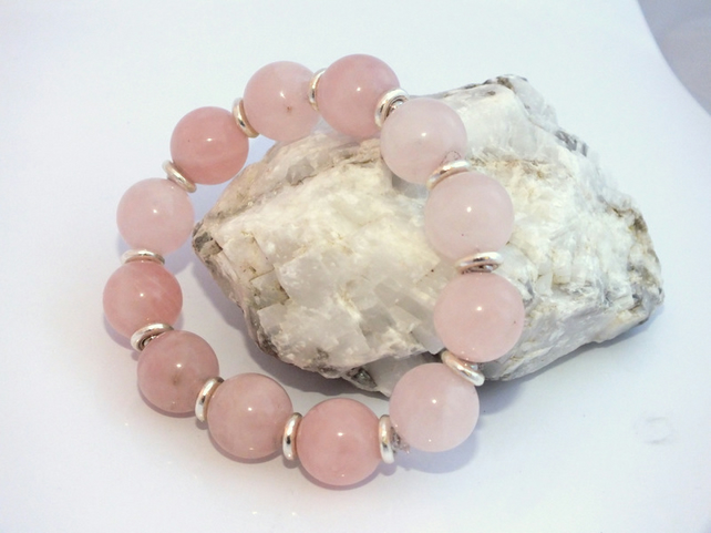Genuine Rose Quartz stretch Bracelet