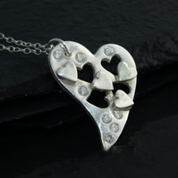Beautiful handmade solid Fine Silver Cut out Heart Necklace- ideal Christmas Gif