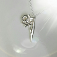 Beautiful handmade solid Silver  Daffodil Necklace, ideal Christmas Gift