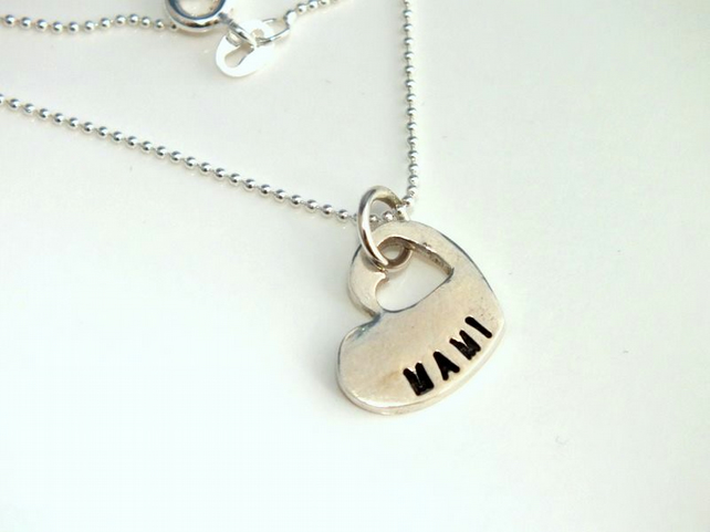 Beautiful Handmade Solid Silver Mami welsh necklace- ideal Christmas Gift