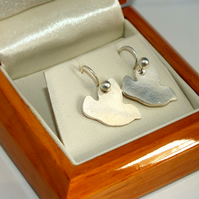 Solid silver dove bird earrings- ideal Christmas Gift
