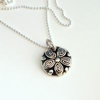 Solid Fine Silver Vintage Button Pendant- ideal Christmas Gift