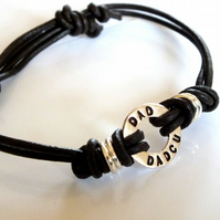 Man's leather and silver Welsh bracelet (Dad and Dadcu)  ideal fathers day Gift